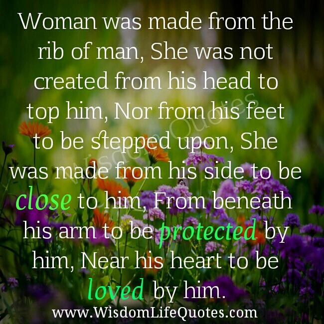 Woman was made from the rib of man